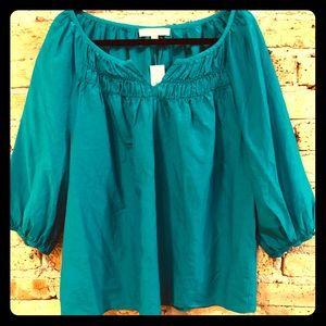 Turquoise LOFT Silk Boho Style Flowy Shirt-NEW